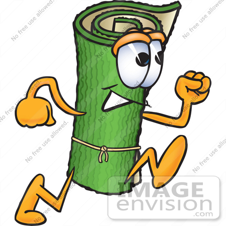 450x450 Clip Art Graphic Of A Rolled Green Carpet Cartoon Character