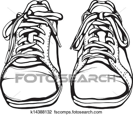 450x389 Clipart Of Shabby Running Shoes In Black Ink K14388132