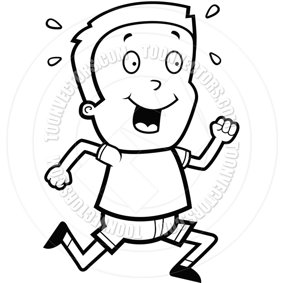 940x940 Boy Running (Black And White Line Art) By Cory Thoman Toon