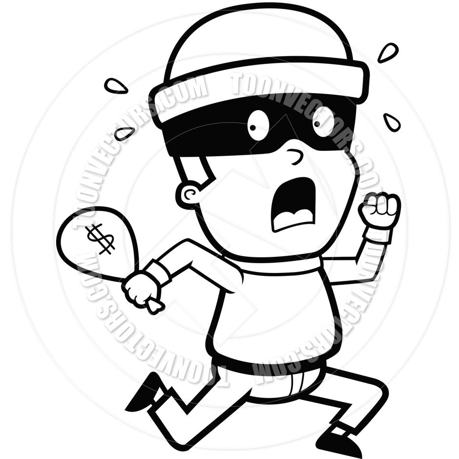 940x940 Burglar Running (Black And White Line Art) By Cory Thoman Toon