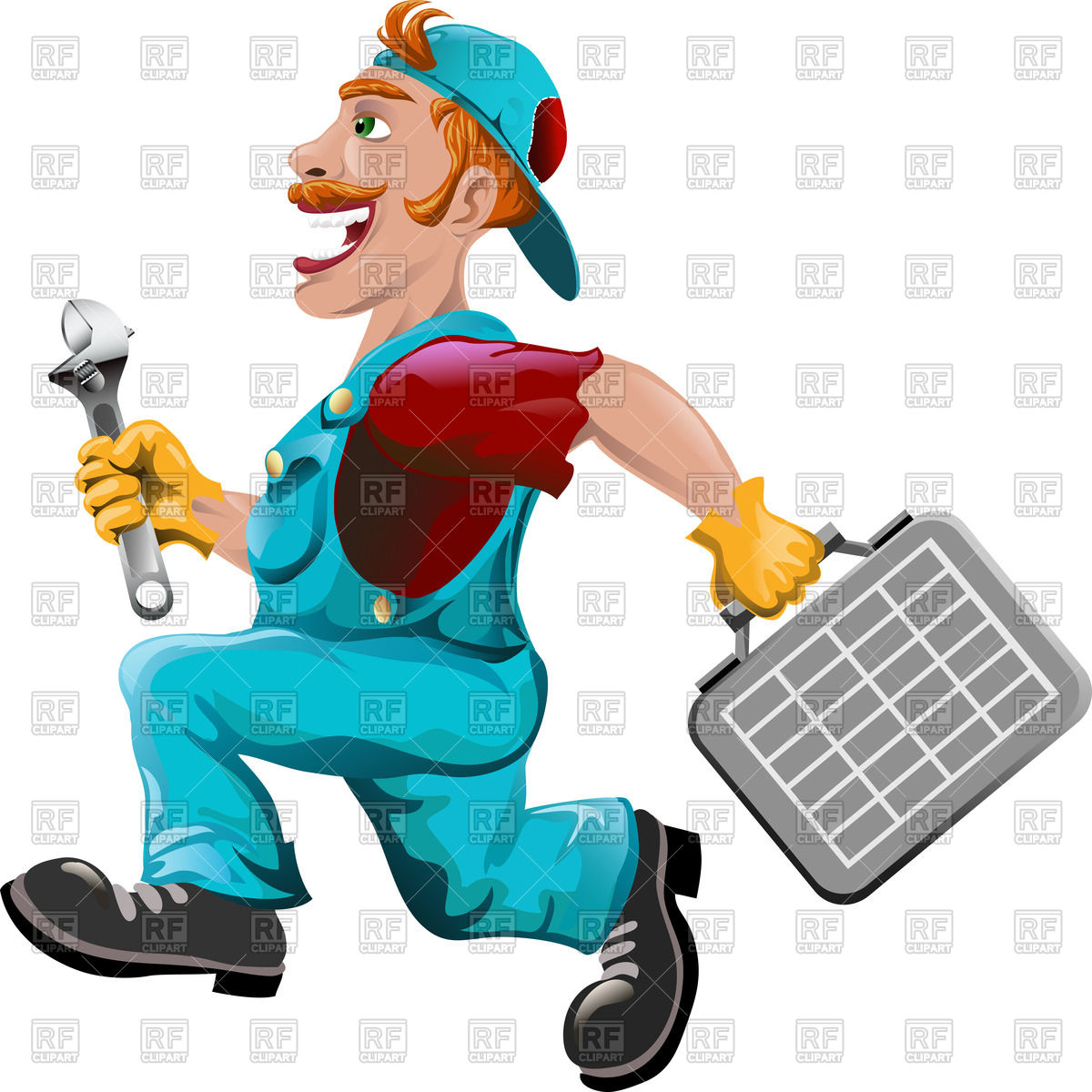 1200x1200 Funny Running Plumber In Cartoon Style Royalty Free Vector Clip