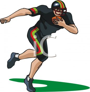 346x350 Picture Of A Football Player Running With A Football In A Vector