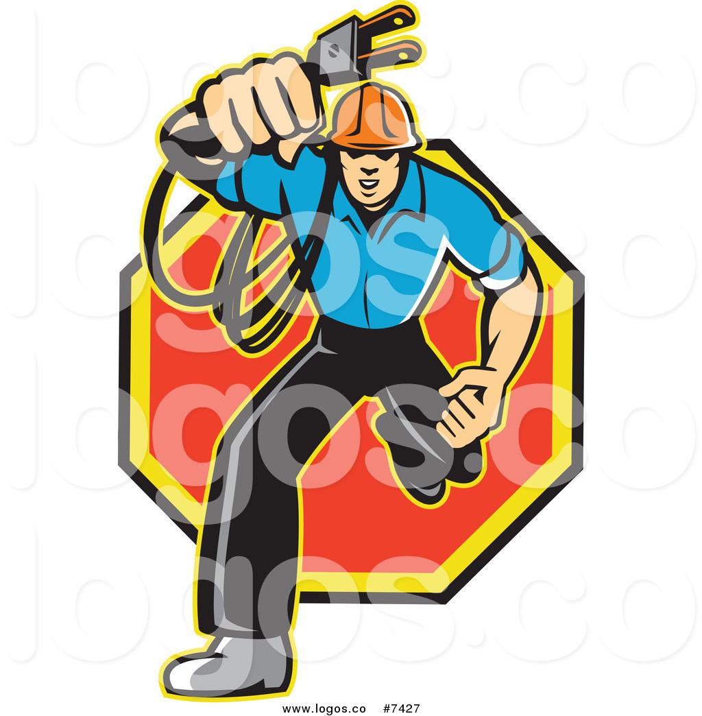 1024x1044 Royalty Free Clip Art Vector Logo Of A Male Electrician Running