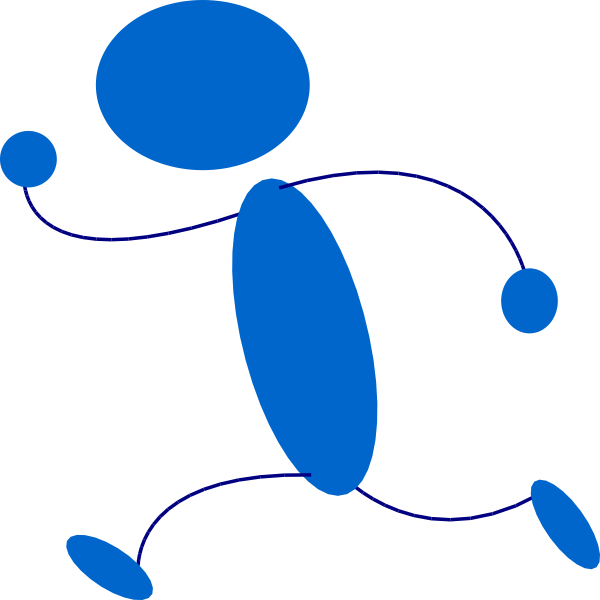 600x600 Running Blue Stick Man Clip Art