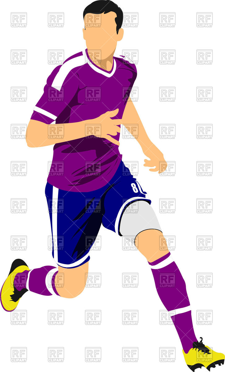727x1200 Running Soccer Player Royalty Free Vector Clip Art Image