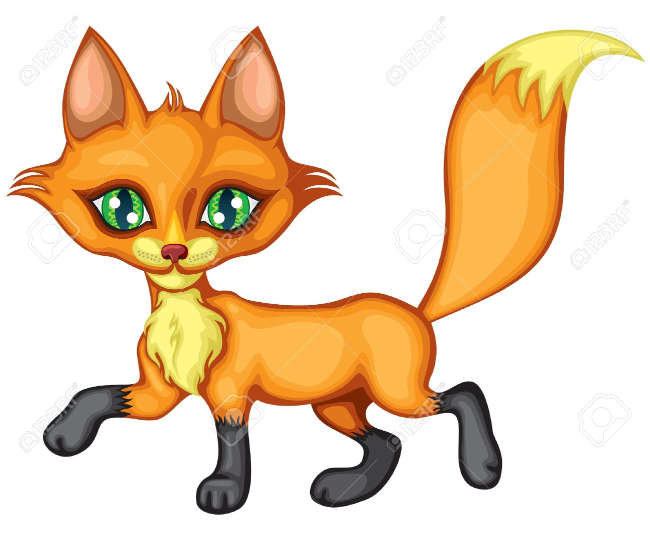 1300x1083 A Cute Little Fox Running High Tail Royalty Free Cliparts, Vectors