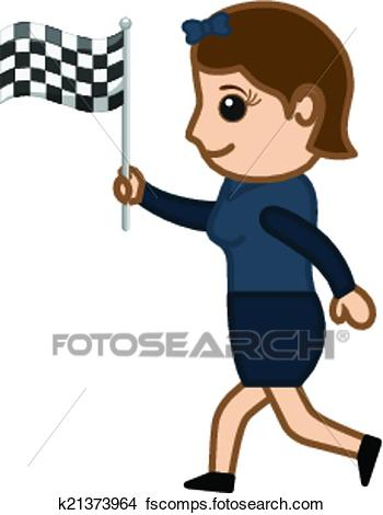 350x470 Clipart Of Young Girl Holding Flag And Running K21373964