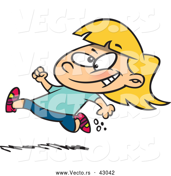 600x620 Vector Of A Happy Cartoon Little Girl Running Fast By Toonaday