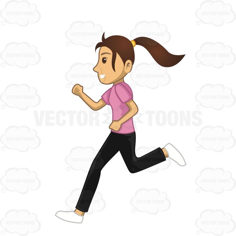 800x800 Woman Running To Workout Cartoon Clipart