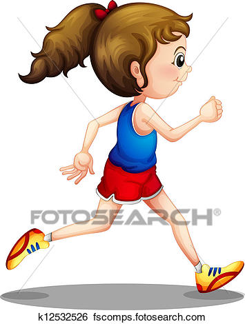 355x470 Clip Art Of A Young Girl Running K12532526