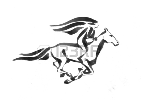 450x327 Girl Riding A Running Horse, Outline Handdrawed Illustration
