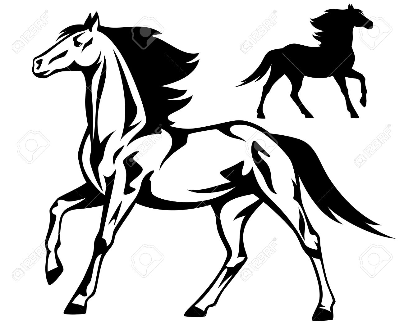 1300x1047 Running Horse Black And White Vector Outline And Silhouette