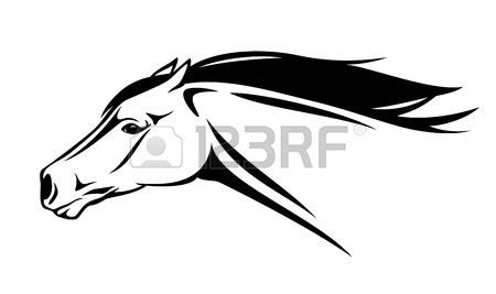 450x267 Running Horse Head Black And White Outline Royalty Free Cliparts