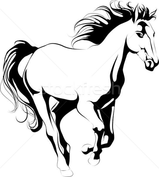 541x600 Running Horse Outline Vector Illustration Julia Smirnova