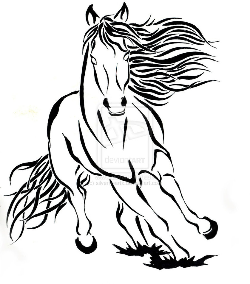 838x954 Tribal Outline Running Horse Tattoo Design