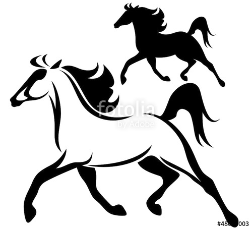 500x454 Running Horse Vector Outline Silhouette Stock Image