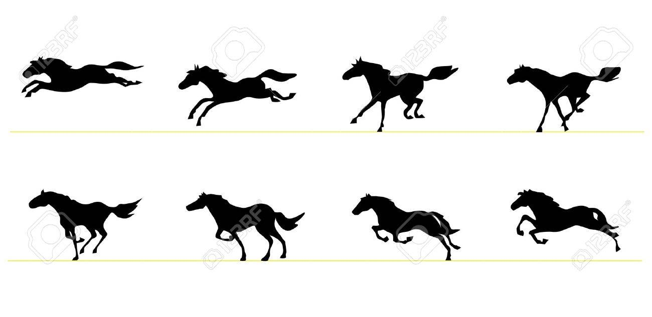 1300x633 Running Horse Silhouettes Royalty Free Cliparts, Vectors,