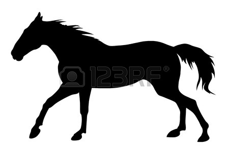 450x302 Vector Illustration Of Running Horse Silhouette Royalty Free