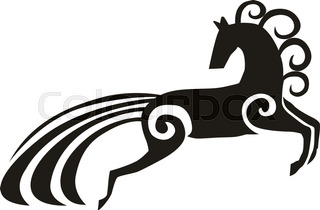 320x210 Horse Silhouette, Vector Realistic Silhouette Running Horse