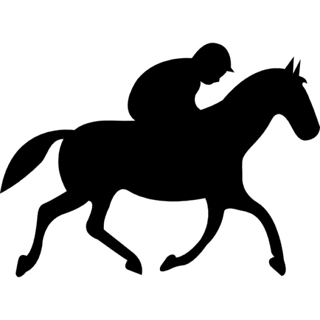 626x626 Running Horse With Jockey Black Silhouette From Side View Icons