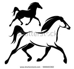 236x220 Stylized Horse Silhouette. Line Icon Vector Illustration