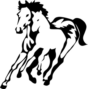 364x368 Vector Set Of Running Horses Silhouette Design Free Vector