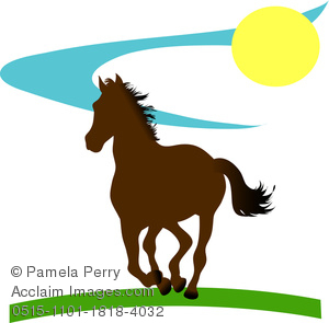 300x295 Clip Art Illustration Of A Running Horse Silhouette