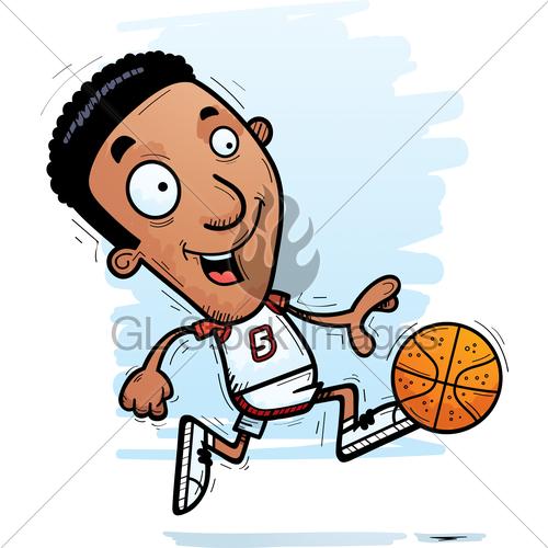 500x500 Cartoon Black Basketball Player Running Gl Stock Images