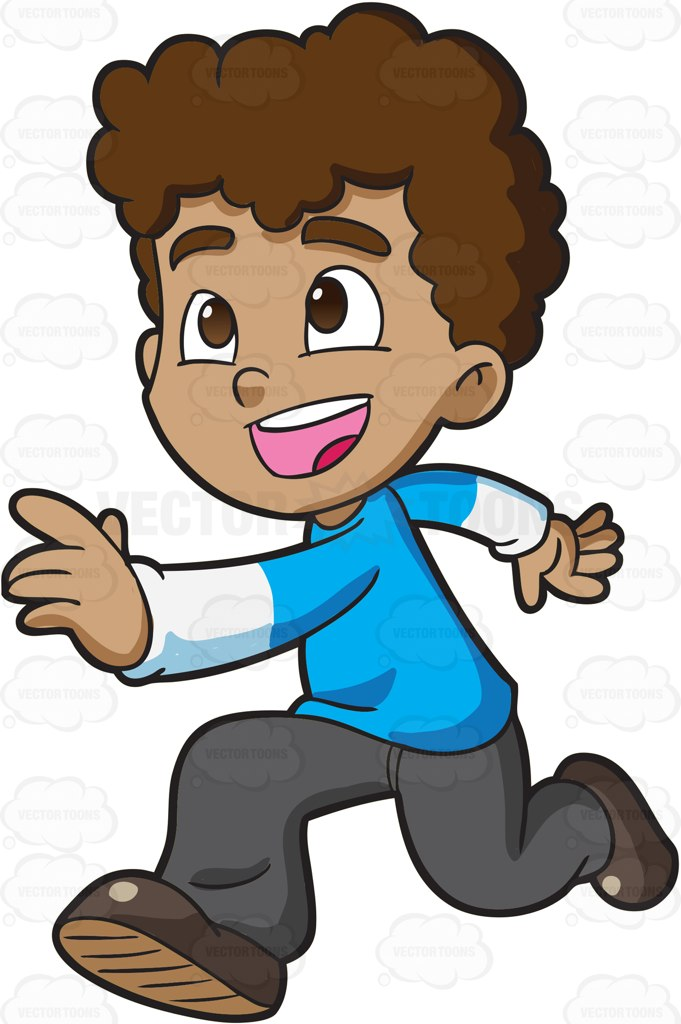 681x1024 A Boy Running Excitedly Towards His Playmates Light Blue Shirts