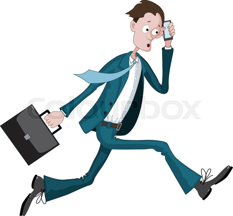 800x744 Cartoon Businessman Running Hurriedly With A Case And Phone