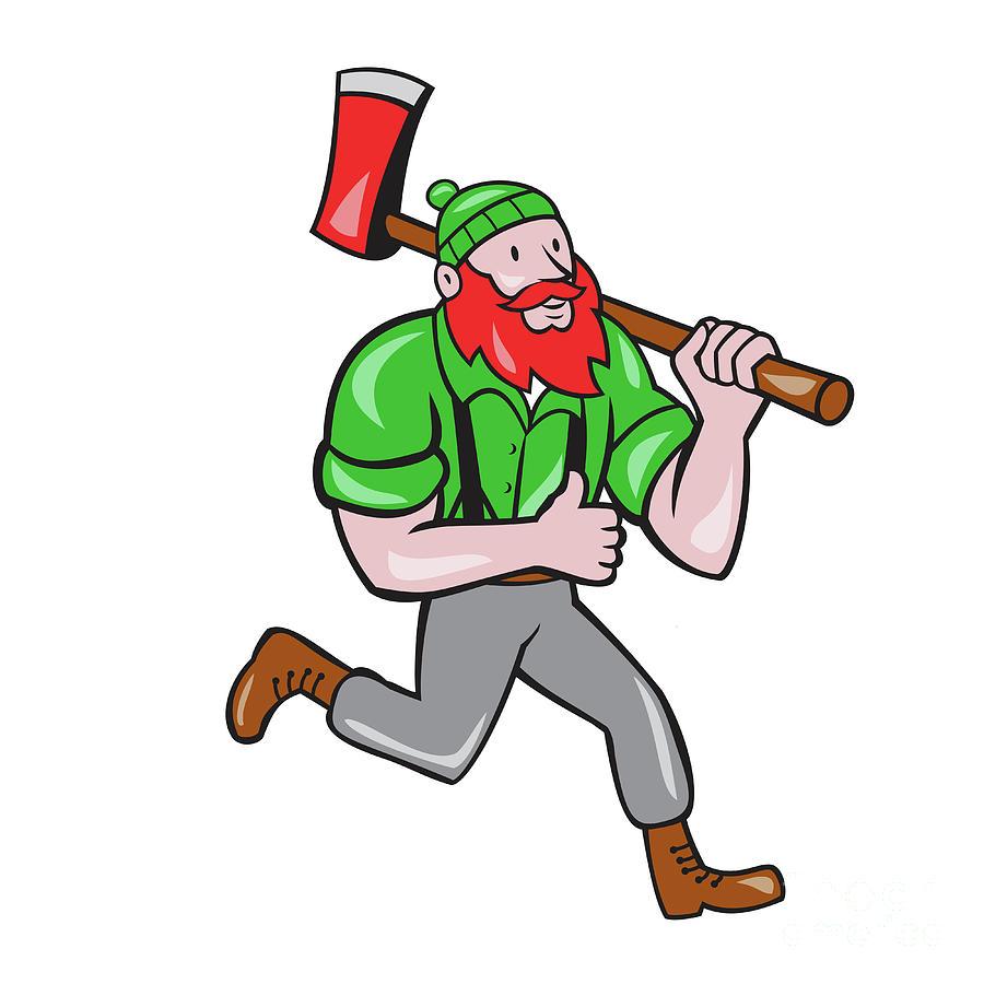900x900 Paul Bunyan Lumberjack Axe Running Cartoon Digital Art By Aloysius