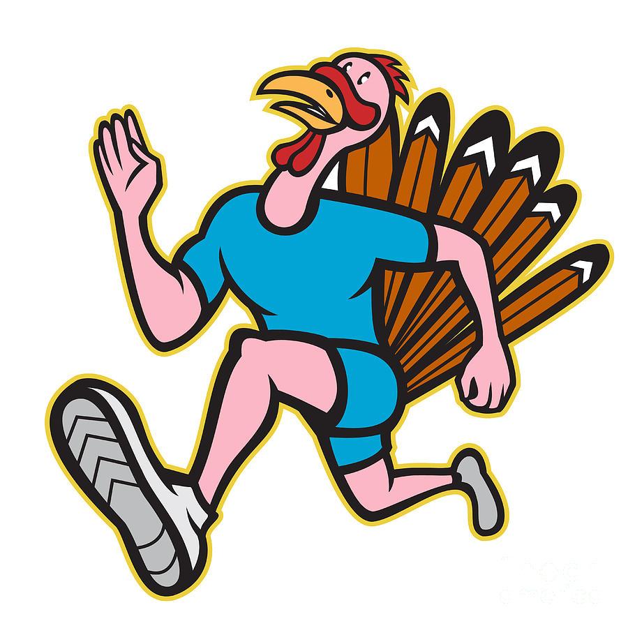 900x900 Turkey Run Runner Side Cartoon Isolated Digital Art By Aloysius