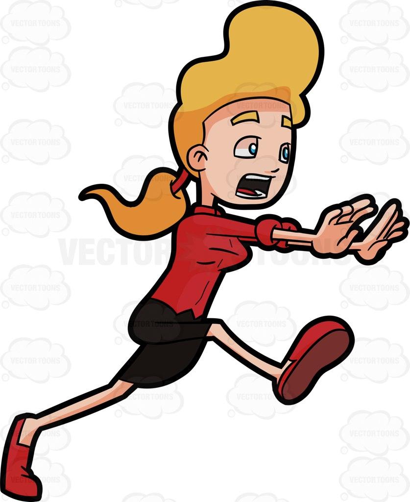 837x1024 A Scared Woman Running Away Cartoon Clipart