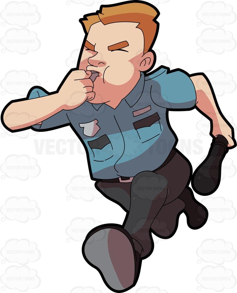830x1024 A Security Guard Running After Some Burglar Cartoon Clipart
