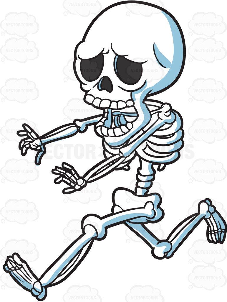 771x1024 A Skeleton Running Away In Horror Cartoon Clipart