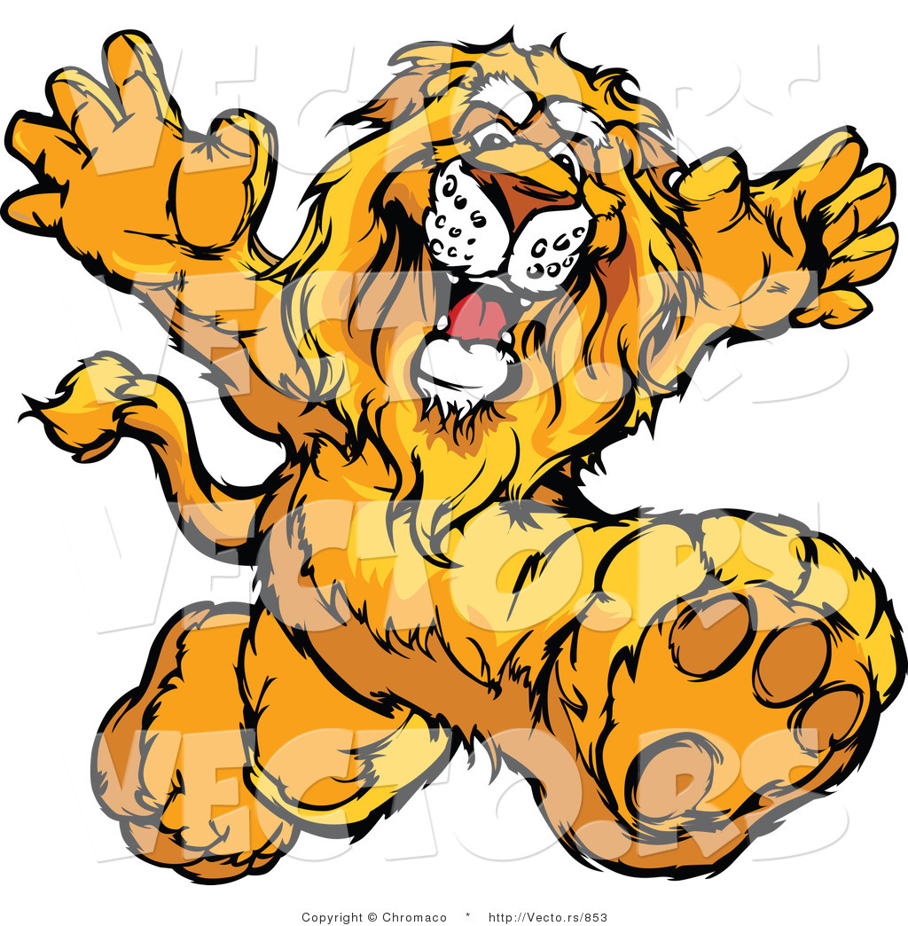 1024x1044 Vector Of A Happy Cartoon Lion Mascot Running By Chromaco