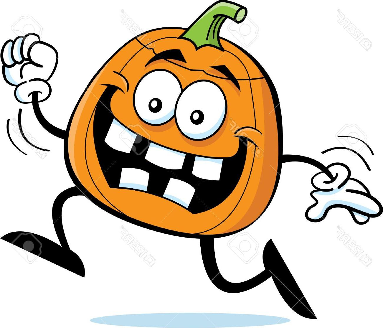 1300x1113 Hd Cartoon Illustration Of Happy Running Pumpkin Stock Vector Images