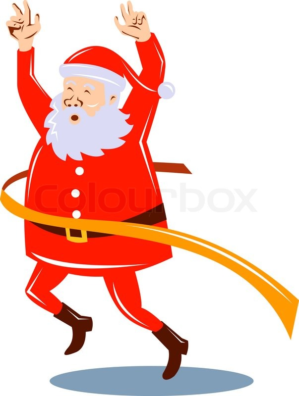 603x800 Father Christmas Santa Claus Running A Race Stock Photo Colourbox