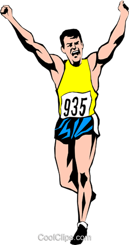 253x480 Runner Finishing Race Royalty Free Vector Clip Art Illustration