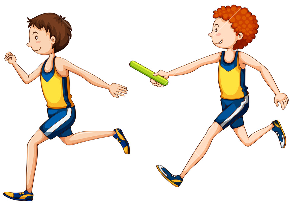 1000x707 Two Running Doing Relay Race Royalty Free Stock Image
