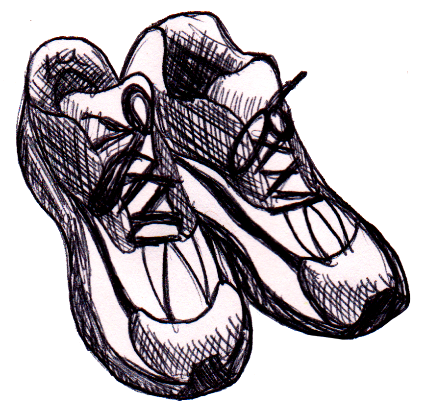 867x843 Running Shoes Drawing Free Clipart Images