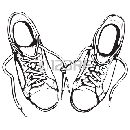 450x450 Shabby Running Shoes In Black Ink Royalty Free Cliparts, Vectors