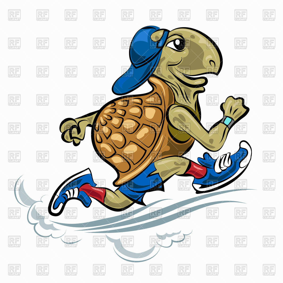 1200x1200 Running Turtle In Sporting Shoes And Hat Royalty Free Vector Clip