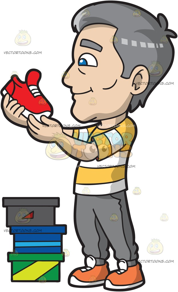 624x1024 A Mature Man Checking Out New Running Shoes Cartoon Clipart