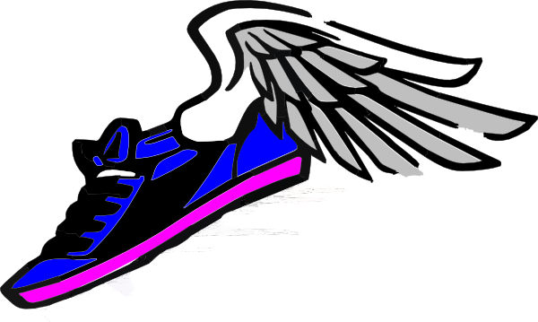 600x359 Running Shoe With Wings Blue Pink Clip Art