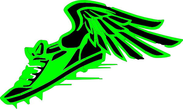 600x359 Winged Foot, Green And Black Clip Art