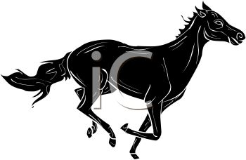 350x228 Picture Of A Silhouette Of A Horse Running In A Vector Clip Art