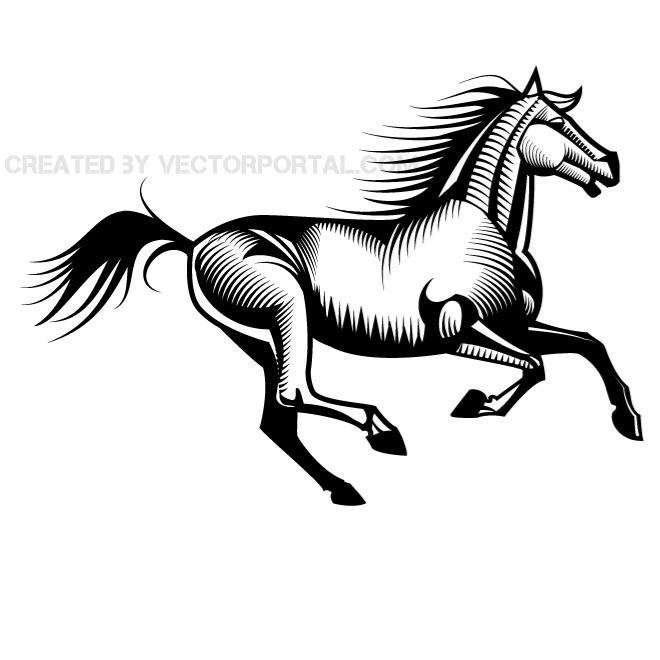 660x660 Running Horse Vector Clip Art.eps, Vector Image