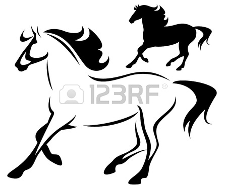 450x374 Running Horse Black And White Outline And Silhouette Royalty Free