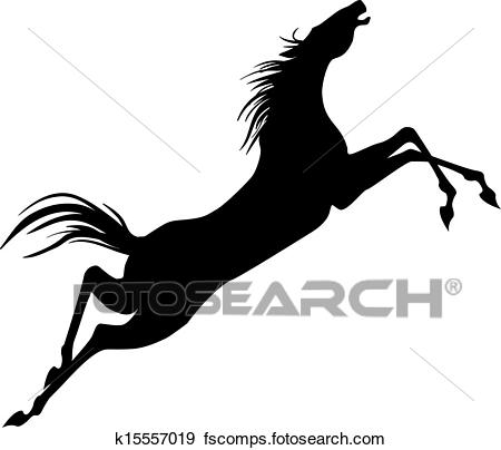 450x404 Clip Art Of Jumping Horse Silhouette K15557019